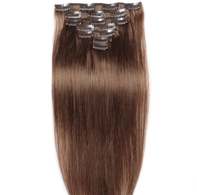 18 Light Chestnut Straight Clipin In Brazilian Remy Human Hair