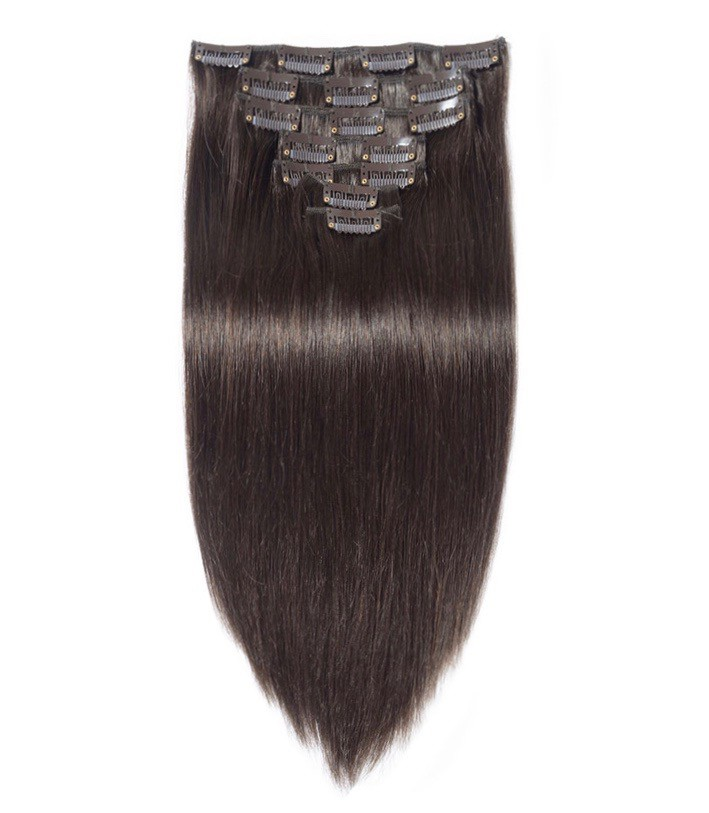 18 Dark Brown Straight Clip In Brazilian Remy Human Hair Extensions